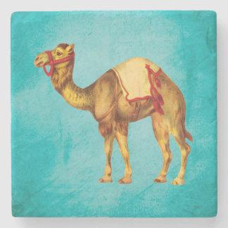 Vintage Circus Camel on Aqua Stone Coaster