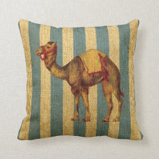 Vintage Circus Camel on Blue Stripes Cushion