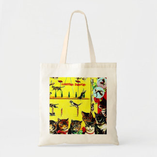 Vintage Circus Cat Act Poster Wall Art AddYourText Budget Tote Bag