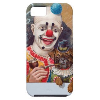 Vintage Circus Clown with his Circus Pug Dog iPhone 5 Cases