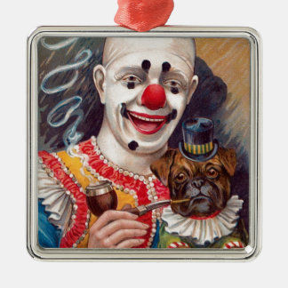 Vintage Circus Clown with his Circus Pug Dog Christmas Ornament
