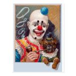 Vintage Circus Clown with his Circus Pug Dog Postcard