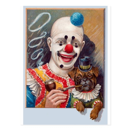 Vintage Circus Clown with his Circus Pug Dog Postcard