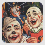 Vintage Circus Clowns, Silly Funny Humourous Square Stickers