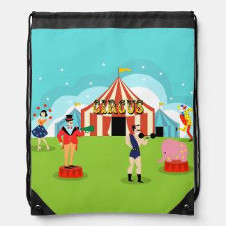 Vintage Circus Drawstring Backpack