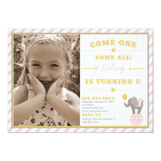 Vintage Circus Elephant - 1st Birthday 13 Cm X 18 Cm Invitation Card