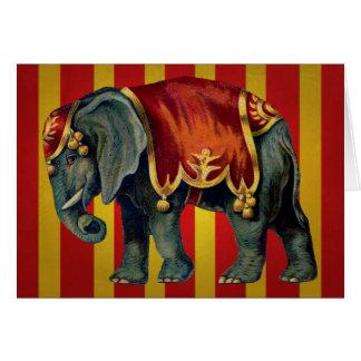 vintage circus elephant card