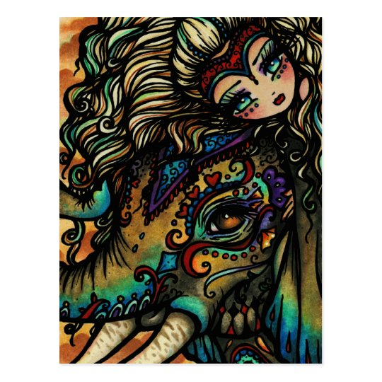 Vintage Circus Elephant Fairy Fantasy Art Girl Postcard