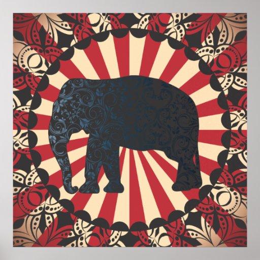 Vintage Circus Elephant Free Mandarin Circle Too Print