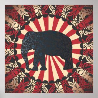 Vintage Circus Elephant Free Mandarin Poster