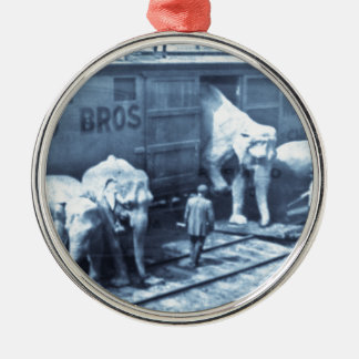 Vintage Circus Elephants Ringling Railroad Car Silver-Colored Round Decoration