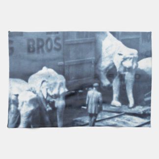 Vintage Circus Elephants Ringling Railroad Car Tea Towel