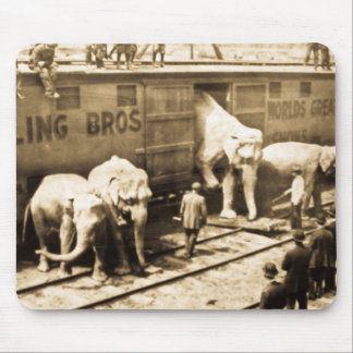 Vintage Circus Elephants Unloading from Train Car Mouse Mat