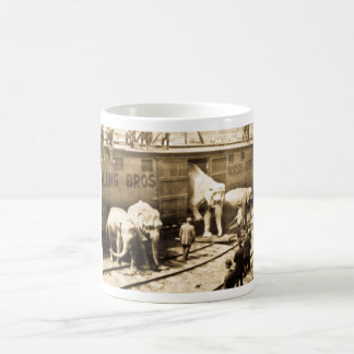 Vintage Circus Elephants Unloading from Train Car Classic White Coffee Mug