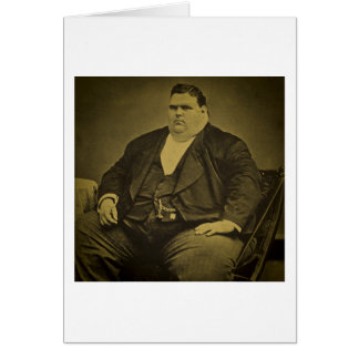 Vintage Circus Freak Sideshow Fat Man Greeting Card