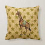 Vintage Circus Giraffe on Green Stars Pillows