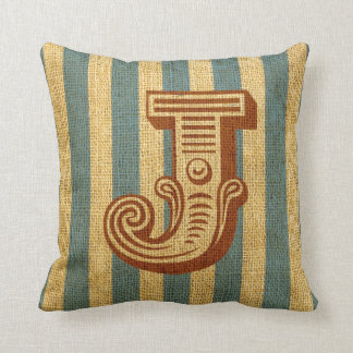 Vintage Circus Letter J Throw Pillow