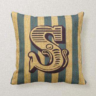 Vintage Circus Letter S Throw Pillow