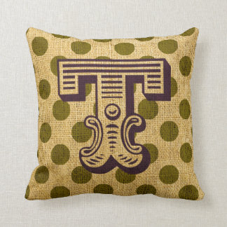 Vintage Circus Letter T Throw Pillow