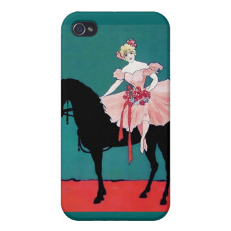 Vintage Circus Performer with a Black Horse iPhone 4/4S Covers