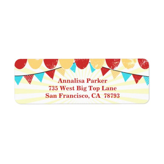 Vintage Circus personalised address label
