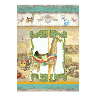 Vintage Circus Poster, Giraffe Birthday Party 13 Cm X 18 Cm Invitation Card