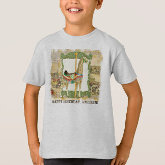 Vintage Circus Poster, Giraffe Boy Birthday Party T-Shirt