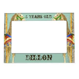 Vintage Circus Poster Giraffe Magnetic Photo Frame