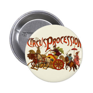 Vintage Circus Procession Clowns and Horses 6 Cm Round Badge