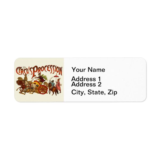 Vintage Circus Procession Clowns and Horses Return Address Label
