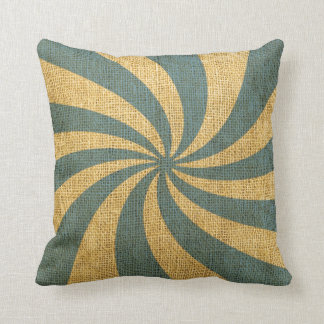 Vintage Circus Spiral Blue Cushion