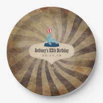 Vintage Circus Themed Birthday Party Paper Plate