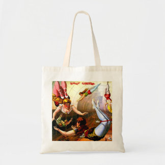 Vintage Circus Trapeze Act Poster Wall Art AddText Budget Tote Bag