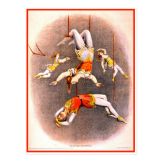 Vintage Circus Trapeze Performers Postcard