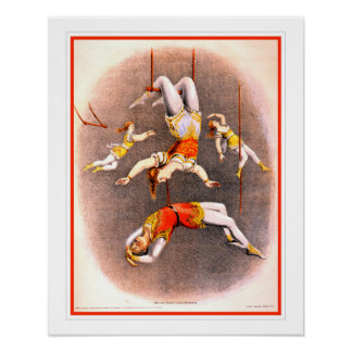 Vintage Circus Trapeze Performers Poster