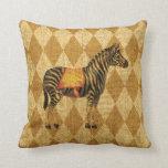 Vintage Circus Zebra on Rustic Gold Diamonds Throw Pillow