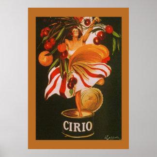 Vintage Cirio Cherries Italian Poster