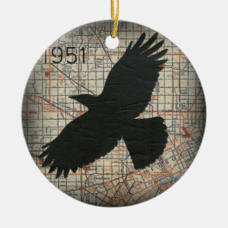Vintage City Crow Ornament