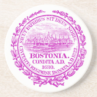Vintage City of Boston Seal, purple Coaster