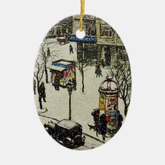 Vintage City Street Winter Scene Christmas Ornament