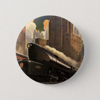 Vintage City, T1 Duplex Train on Railroad Tracks 6 Cm Round Badge