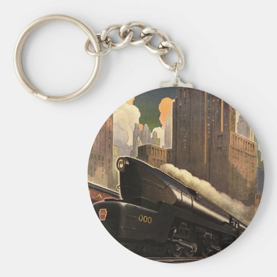 Vintage City, T1 Duplex Train on Railroad Tracks Basic Round Button Key Ring