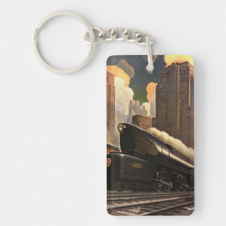 Vintage City, T1 Duplex Train on Railroad Tracks Double-Sided Rectangular Acrylic Key Ring