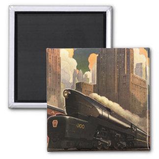 Vintage City, T1 Duplex Train on Railroad Tracks Magnet