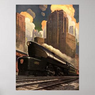 Vintage City, T1 Duplex Train on Railroad Tracks Poster
