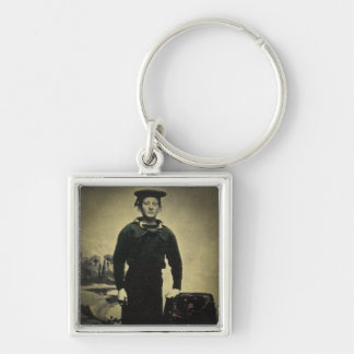 Vintage Civil War Sailor Daguerreotype Keychain