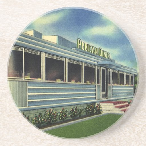 Vintage Classic 50s Retro Restaurant Pelican Diner Drink Coasters