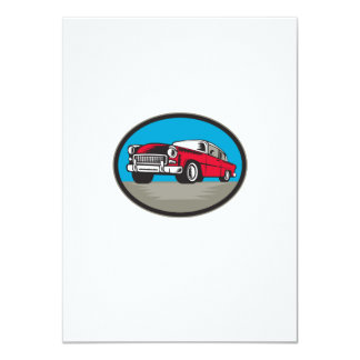 Vintage Classic Car Low Angle Woodcut 11 Cm X 16 Cm Invitation Card