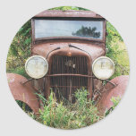 Vintage Classic Car Rust Bucket Photograph Round Sticker