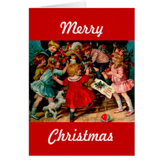 Vintage Classic Christmas Scene Children with Toys Greeting Card